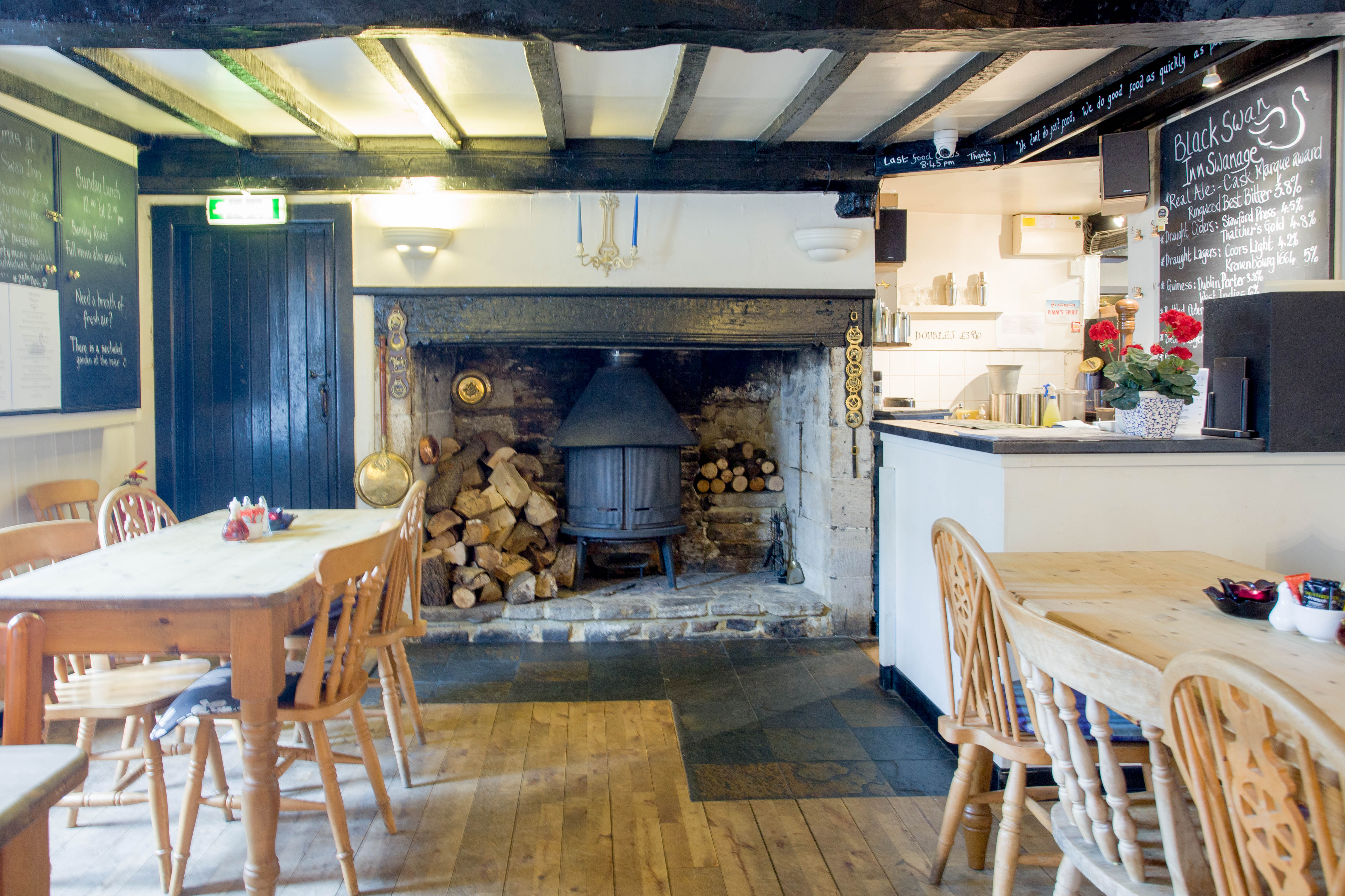 Large wood burner situated in Main Dining room.